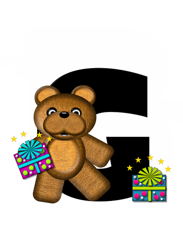 gift wrapped: The letter G, in the alphabet set Teddy Gifts Galore, is black.  Teddy bear, gift wrapped packages and stars decorate letter.