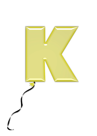 The letter K, in the alphabet set Balloon Jewels, resembles an inflated balloon tied at the knot with a black curly string.  Letters, in set, come in a mixture of colors and tilting angles. Stock Photo