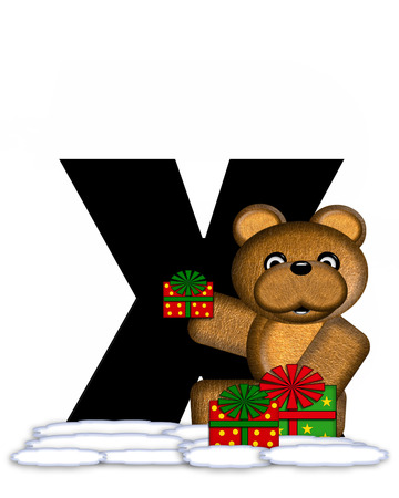 teddy bear christmas: The letter X, in the alphabet set Teddy Christmas, is black and sits on pile of snow.  Teddy Bear and presents decorate each letter. Stock Photo