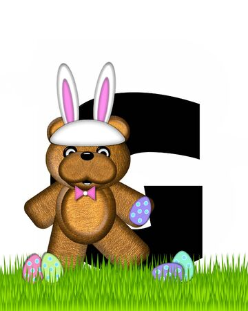 The letter G, in the alphabet set Teddy Easter, is black. Teddy wears an Easter Rabbit costume and hunts Easter Eggs hidden in the grass. Stock Photo