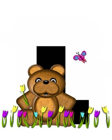 overhead: The letter L, in the alphabet set Teddy Picking Flowers, is black.  Teddy bear picks tulips and butterfly flutters overhead.