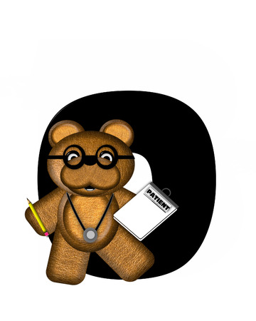 The letter O, in the alphabet set Teddy Doctor Visit, is black.  Teddy bear wearing a stethoscope and glasses decorates letter along with other medical tools and equipment. Stock Photo
