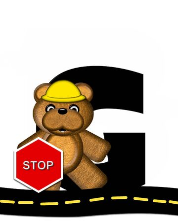 highway signs: The letter G, in the alphabet set Teddy Highway Work, is black and sits on black highway. Teddy bear, hard hat, and highway signs decorate letter.