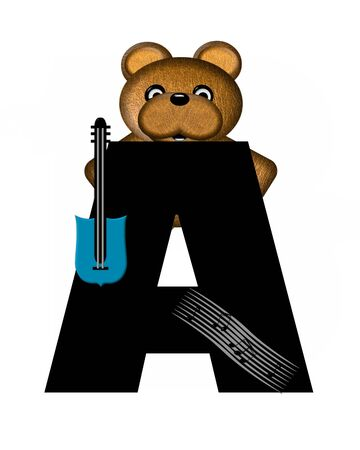 musical score: The letter A, in the alphabet set Teddy Guitar Music, is black.  Teddy bear, electric guitar and musical notes decorate letter. Stock Photo