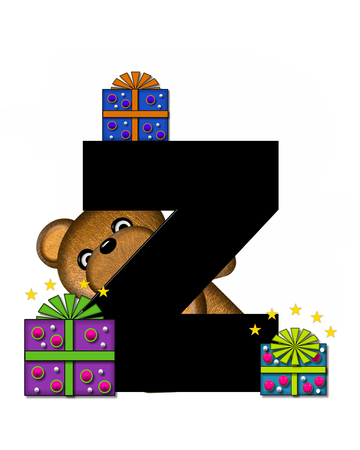 gift wrapped: The letter Z, in the alphabet set Teddy Gifts Galore, is black.  Teddy bear, gift wrapped packages and stars decorate letter.