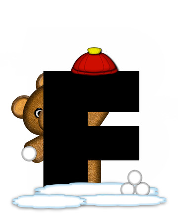 wintertime: The letter F, in the alphabet set Teddy Wintertime, is black. Teddy stands on snow making and throwing snowballs.  He is wearing a red cap. Stock Photo