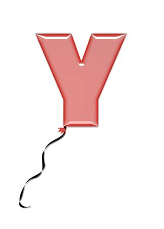 The letter Y, in the alphabet set Balloon Jewels, resembles an inflated balloon tied at the knot with a black curly string.  Letters, in set, come in a mixture of colors and tilting angles. Stock Photo