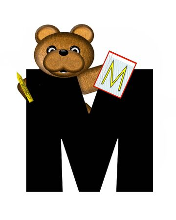 The letter M, in the alphabet set Teddy Homework, is black with white background.  Borwn Teddy Bear decorates letter and is holding homework paper with matching alphabet letter. Stock Photo