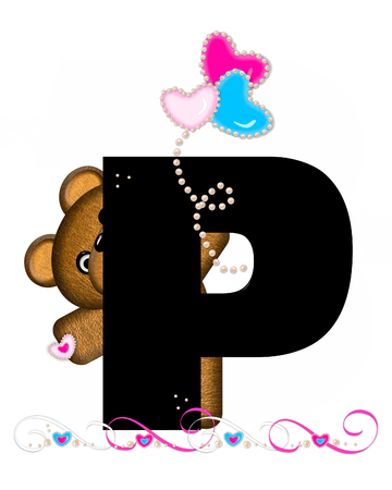 cutie: The letter P, in the alphabet set Teddy Valentines Cutie, is black.  Brown teddy bear holds heart shaped balloons in pink and blue.  String of pearls serve as string.