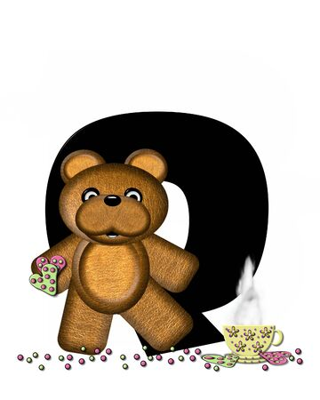 frosted: The letter Q, in the alphabet set Teddy Tea Time, is black.  Teddy bear enjoys a cup of hot tea with heart shaped and frosted cookies.  Candy sprinkles cover floor.