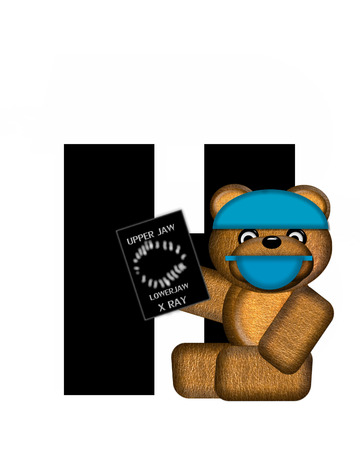 animals x ray: The letter H, in the alphabet set Teddy Dental Checkup, is black.  Teddy bear wearing a dental mask and hat represents dentist holding various dental tools.