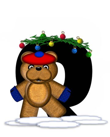 boughs: The letter Q, in the alphabet set Teddy Christmas Boughs, is black and sits on pile of snow.  Teddy Bear wearing cap and mittens, decorates letter with Christmas boughs and ornaments.