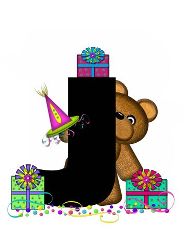The letter J, in the alphabet set Teddy Birthday Surprise, is black.  Teddy bear, party hat, gifts and confetti decorate letter. Stock fotó