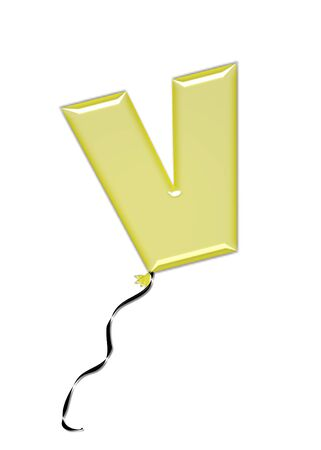 The letter V, in the alphabet set Balloon Jewels, resembles an inflated balloon tied at the knot with a black curly string.  Letters, in set, come in a mixture of colors and tilting angles. Stock Photo
