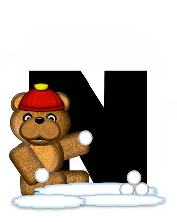 wintertime: The letter N, in the alphabet set Teddy Wintertime, is black. Teddy stands on snow making and throwing snowballs.  He is wearing a red cap.