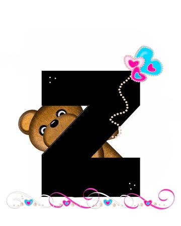 """알파벳 Z """"Teddy Valentine 's Cutie""""의 문자 Z는 검은 색입니다. 갈색 곰 심장 모양의 풍선 핑크와 블루에 보유하고있다. 진주의 끈은 끈으로 봉사한"""