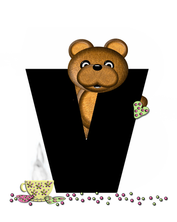 frosted: The letter V, in the alphabet set Teddy Tea Time, is black.  Teddy bear enjoys a cup of hot tea with heart shaped and frosted cookies.  Candy sprinkles cover floor.
