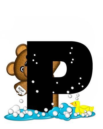 bathtime: The letter P, in the alphabet set Teddy Bath Time, is black and sits on a pool of spilled bath water.  Brown teddy bear, bubbles and yellow duck decorate letter.