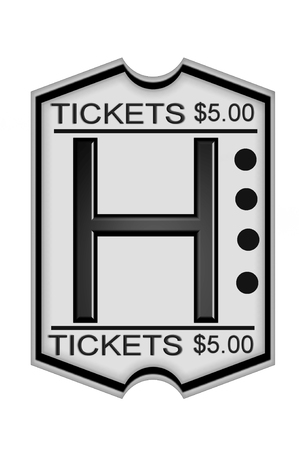 H, in the alphabet set Ticket Stub, is a black letter on a white ticket marked $5.00.