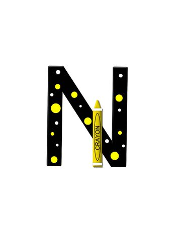 further: The letter N, in the alphabet set Black to School, is black with polka dots.  A crayon is added for further decoration.