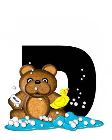 The letter D, in the alphabet set Teddy Bath Time, is black and sits on a pool of spilled bath water.  Brown teddy bear, bubbles and yellow duck decorate letter.