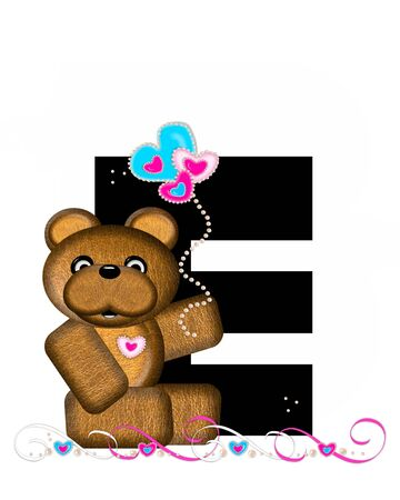 frilly: The letter E, in the alphabet set Teddy Valentines Cutie, is black.  Brown teddy bear holds heart shaped balloons in pink and blue.  String of pearls serve as string. Stock Photo