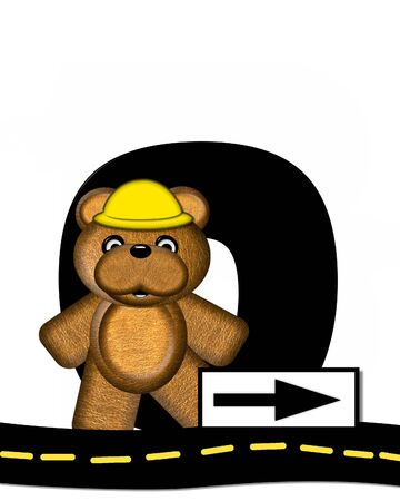 highway signs: The letter O, in the alphabet set Teddy Highway Work, is black and sits on black highway. Teddy bear, hard hat, and highway signs decorate letter.