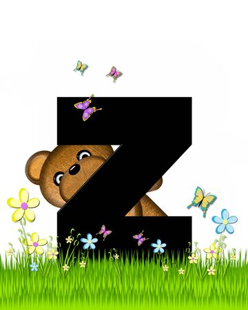 grassy field: The letter Z, in the alphabet set Teddy Butterfly Field, is black.  Teddy bear chases colorful butterflies across a grassy field with wildflowers.