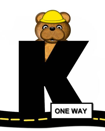 highway signs: The letter K, in the alphabet set Teddy Highway Work, is black and sits on black highway. Teddy bear, hard hat, and highway signs decorate letter.