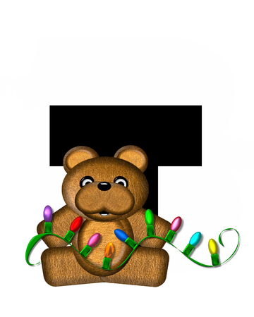 string of christmas lights: The letter T, in the alphabet set Teddy Christmas Lights, is black. Teddy Bear holds a string of Christmas lights and decorates letter.