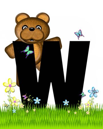 grassy field: The letter W, in the alphabet set Teddy Butterfly Field, is black.  Teddy bear chases colorful butterflies across a grassy field with wildflowers.