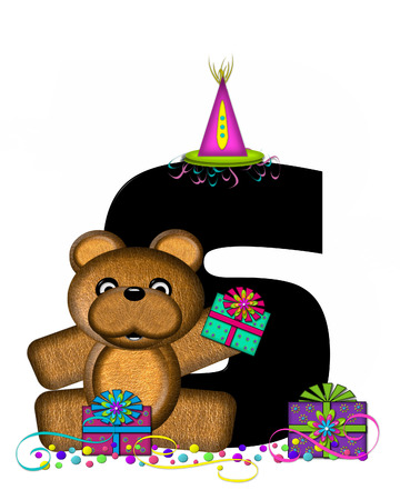 The letter S, in the alphabet set Teddy Birthday Surprise, is black.  Teddy bear, party hat, gifts and confetti decorate letter.