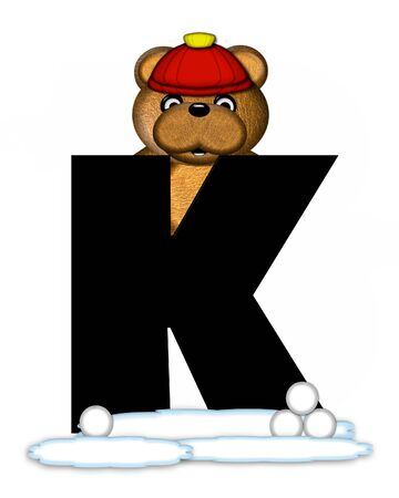 wintertime: The letter K, in the alphabet set Teddy Wintertime, is black. Teddy stands on snow making and throwing snowballs.  He is wearing a red cap.