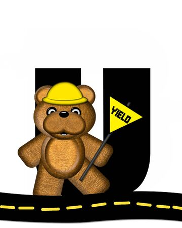 highway signs: The letter U, in the alphabet set Teddy Highway Work, is black and sits on black highway. Teddy bear, hard hat, and highway signs decorate letter.