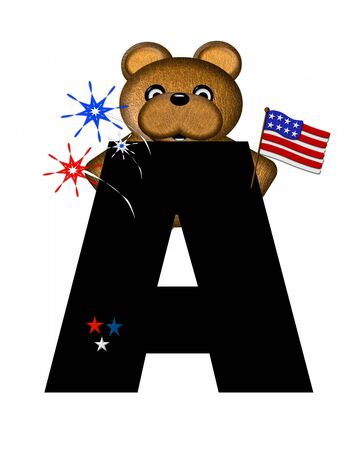 independance day: The letter A, in the alphabet set Teddy 4th of July, is black.  Brown teddy bear holds American flag.  Fireworks in red, white and blue explode around him.