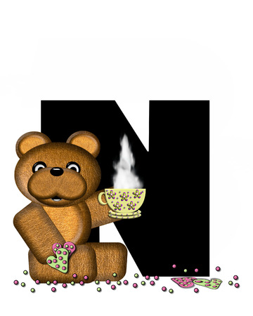 frosted: The letter N, in the alphabet set Teddy Tea Time, is black.  Teddy bear enjoys a cup of hot tea with heart shaped and frosted cookies.  Candy sprinkles cover floor.