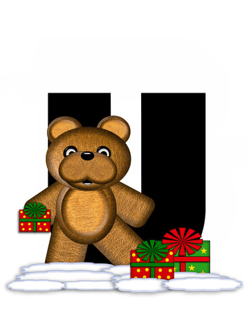 teddy bear christmas: The letter U, in the alphabet set Teddy Christmas, is black and sits on pile of snow.  Teddy Bear and presents decorate each letter.