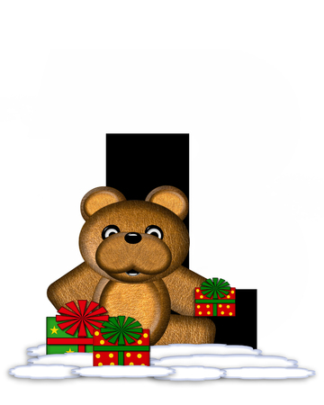 teddy bear christmas: The letter L, in the alphabet set Teddy Christmas, is black and sits on pile of snow.  Teddy Bear and presents decorate each letter. Stock Photo