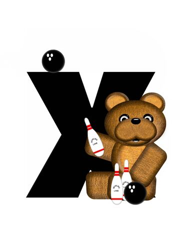 The letter X, in the alphabet set Teddy Bowling, is black.  Teddy bear, bowling ball and pins decorate letter.