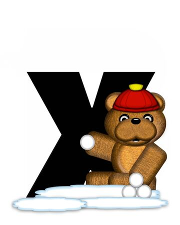 wintertime: The letter X, in the alphabet set Teddy Wintertime, is black. Teddy stands on snow making and throwing snowballs.  He is wearing a red cap.