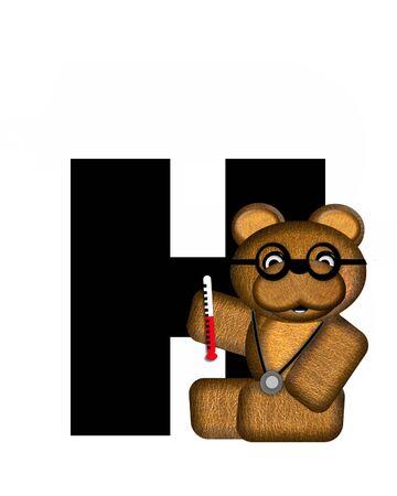 """La letra H, en el conjunto de alfabeto de """"Teddy visita al médico,"""" es negro. Oso de peluche que lleva un estetoscopio y los vidrios decora carta junto con otras herramientas y equipos médicos. Foto de archivo - 63329122"""