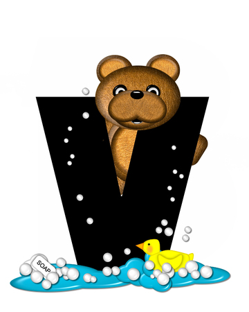 bath time: The letter V, in the alphabet set Teddy Bath Time, is black and sits on a pool of spilled bath water.  Brown teddy bear, bubbles and yellow duck decorate letter.