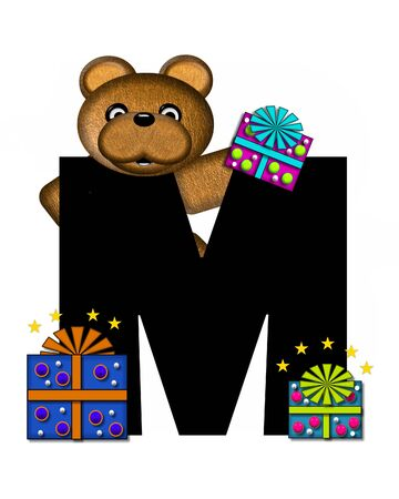 gift wrapped: The letter M, in the alphabet set Teddy Gifts Galore, is black.  Teddy bear, gift wrapped packages and stars decorate letter.