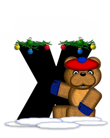 teddy bear christmas: The letter X, in the alphabet set Teddy Christmas Boughs, is black and sits on pile of snow.  Teddy Bear wearing cap and mittens, decorates letter with Christmas boughs and ornaments.