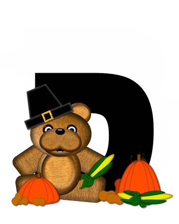 The letter D, in the alphabet set Teddy Thanksgiving, is black.  It is decorated with a cute brown teddy bear wearing a Pilgrims hat.  Pumpkin and harvest vegetables sit besides letter. Stock Photo