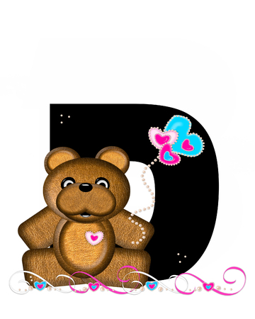 cutie: The letter D, in the alphabet set Teddy Valentines Cutie, is black.  Brown teddy bear holds heart shaped balloons in pink and blue.  String of pearls serve as string.