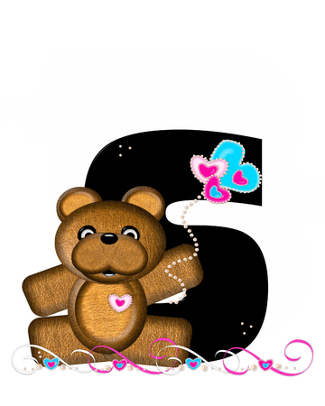 frilly: The letter S, in the alphabet set Teddy Valentines Cutie, is black.  Brown teddy bear holds heart shaped balloons in pink and blue.  String of pearls serve as string.