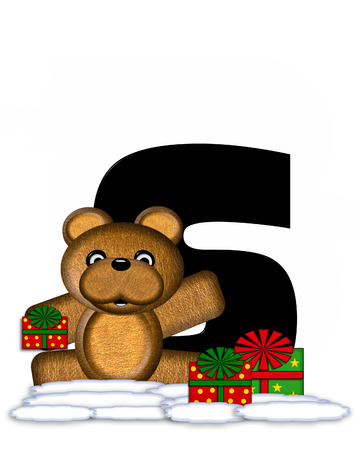 bear s: The letter S, in the alphabet set Teddy Christmas, is black and sits on pile of snow.  Teddy Bear and presents decorate each letter.