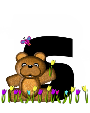 bear s: The letter S, in the alphabet set Teddy Picking Flowers, is black.  Teddy bear picks tulips and butterfly flutters overhead. Stock Photo