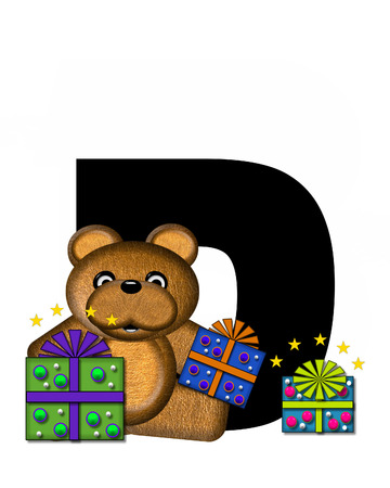 gift wrapped: The letter D, in the alphabet set Teddy Gifts Galore, is black.  Teddy bear, gift wrapped packages and stars decorate letter.